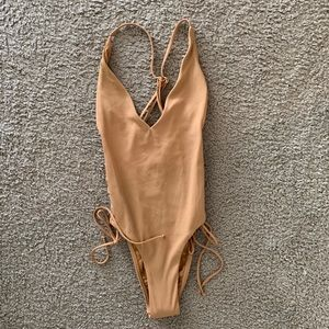 L*space tan ribbed high and mighty one piece suit